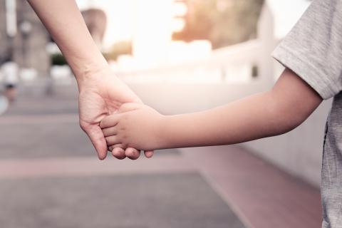 Parent holds the hand of a young child