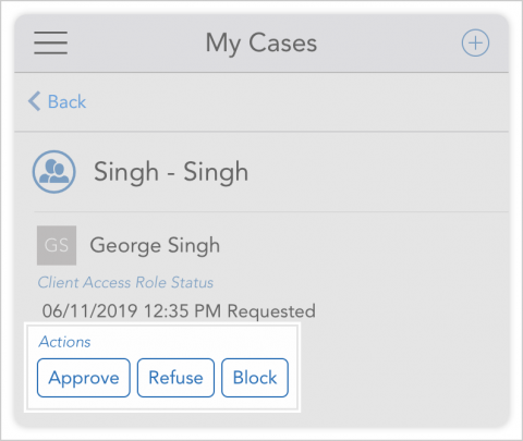 Screenshot showing approve, refuse, and block options for responding to an access request.